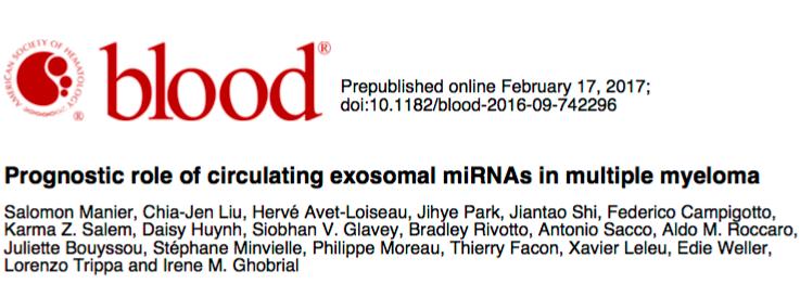 Blood:循环外泌体里的miRNA在多发性骨髓瘤中的预后作用