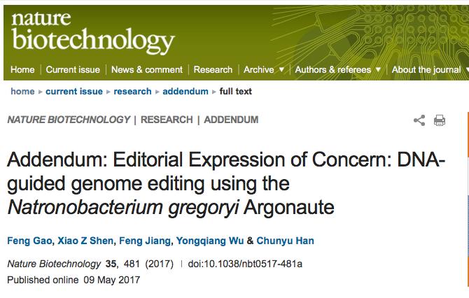 Nature Biotechnology杂志编辑部发表对韩春雨论文的关注意见