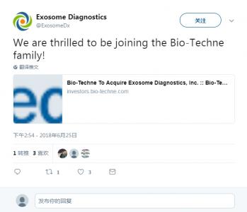 快讯|Exosome Diagnostics公司以5.75亿美元被Bio-Techne公司收购