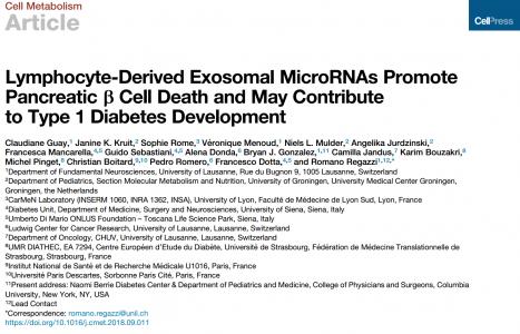 Ⅰ型糖尿病发展新机制:淋巴细胞外泌体miRNAs促进胰腺β细胞死亡| Cell Metabolism