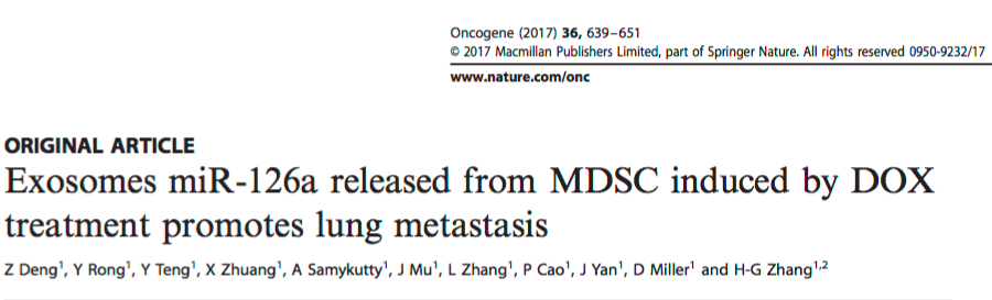 Oncogene:化疗耐药诱导外泌体miRNA的产生促进肿瘤转移