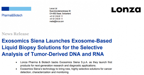 Exosomics Siena推出基于外泌体的液体活检解决方案,用于选择性分析肿瘤外泌体核酸