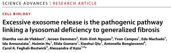 Science子刊:过量的外泌体释放与溶酶体缺乏和纤维化疾病有关