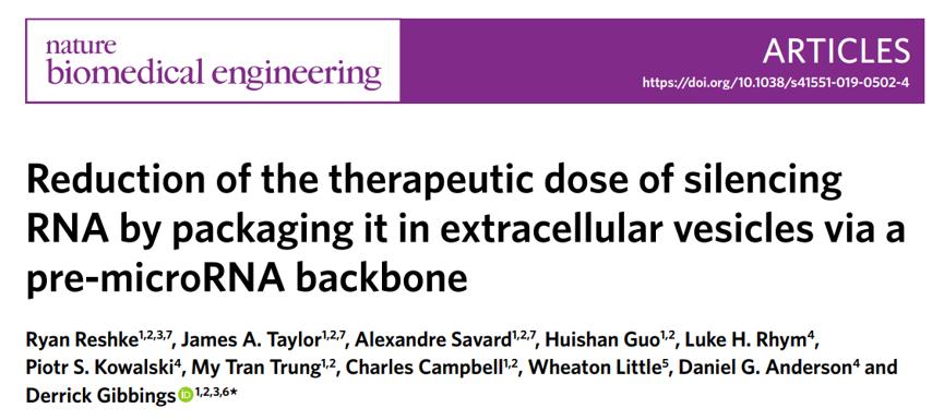 Nature子刊:利用pre-miRNA将siRNA包装在EVs中可降低治疗性siRNA的剂量