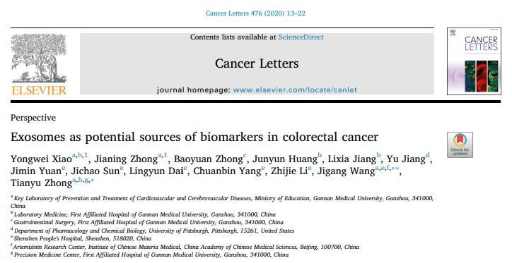 【综述】赣南医学院:外泌体可作为结直肠癌诊疗的生物标志物
