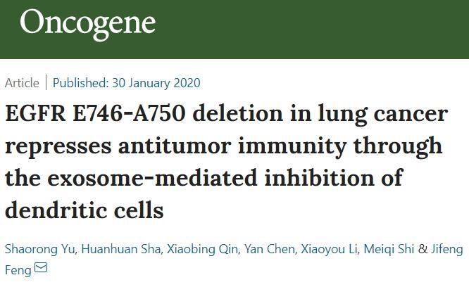 南京医科大学:肺癌中的EGFR E746-A750缺失可通过外泌体来抑制树突状细胞的抗肿瘤免疫效果