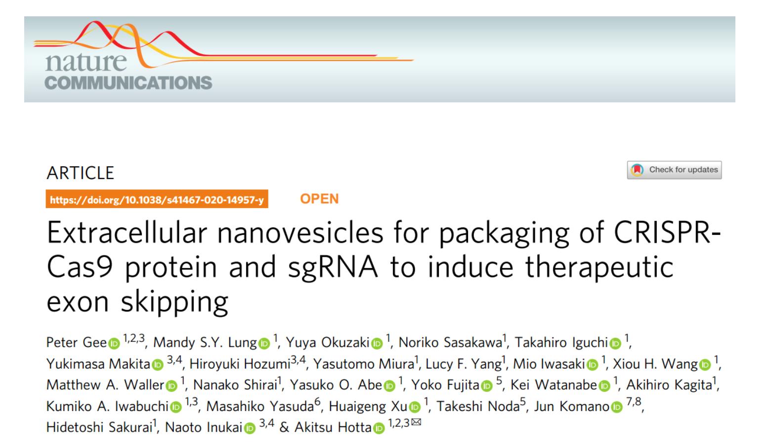 Nature子刊:EV用于包装CRISPR-Cas9蛋白和sgRNA以诱导治疗性外显子跳跃