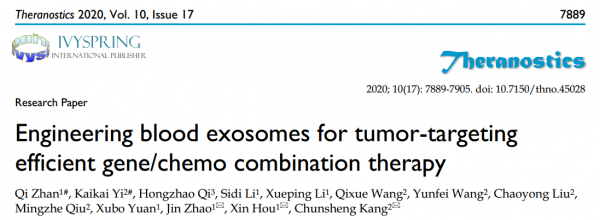 天津医科&天津大学:利用血液外泌体作为载体高效靶向肿瘤共递送化药和核酸药物