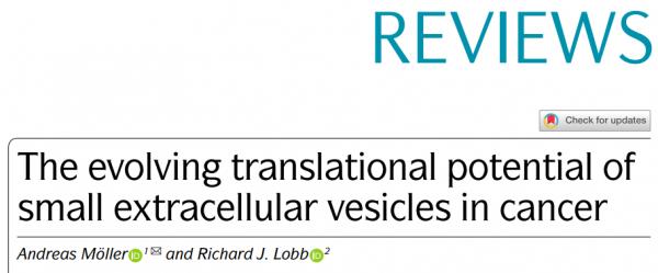 53分Nature子刊综述:小细胞外囊泡在癌症中不断发展的转化应用潜力