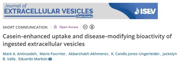 JEV:酪蛋白增强摄入EVs的摄取并具有改善疾病的生物活性