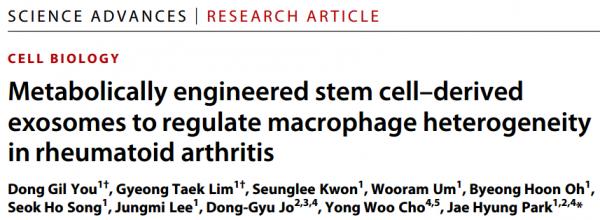 Sci Adv:代谢工程化干细胞外泌体更好地缓解类风湿性关节炎